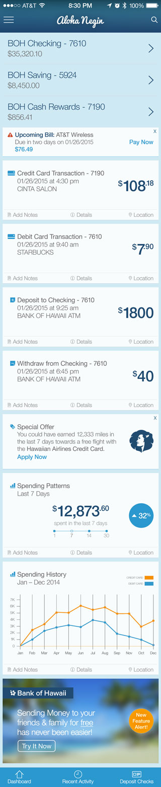 Bank of Hawaii Mobile Home Feed - iPhone 5S