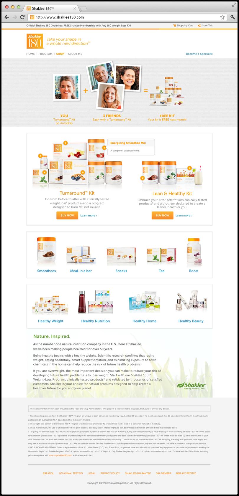 Shaklee 180 Website Shop Page