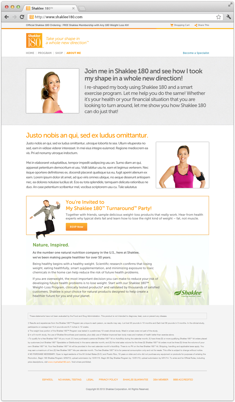 Shaklee 180 Website About Me Page