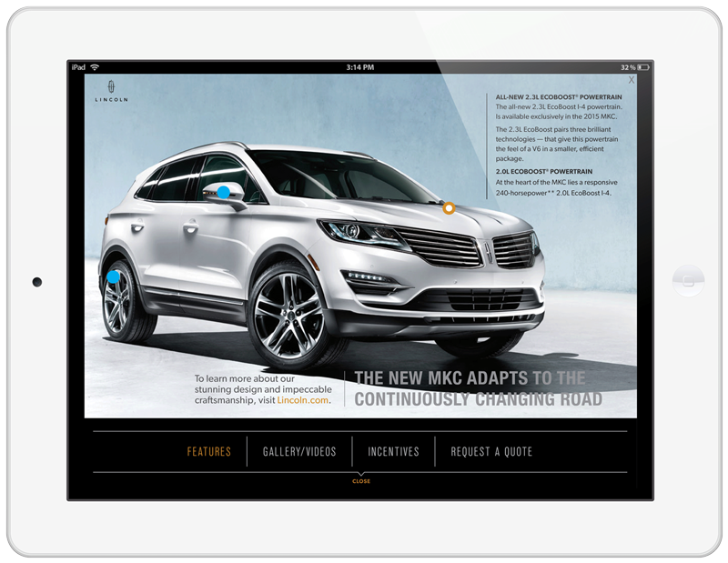 Lincoln MKC Tablet Ad Experience Features Screen with Exposed Menu