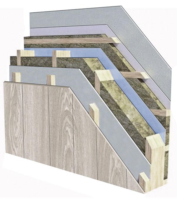 .... EXTERNAL WALL .. ĀRĒJĀ SIENA ....   .... Standard facade: decorative plaster, cement fibre boards Cembrit or wooden finish,  Wind barrier: Steico wood fibre plates or wind gypsum boards trimmed with wind tapes (SIGA, ProClima or Tyvek). The type of the wind barrier depends on the façade type,  Wood frame construction: 220 mm - only C24 strength class CE marked (certified timber),  Insulation: 220 mm (Isover or Knauf),  Vapour barrier: SIGA, ProClima or Tyvek, treated with vapour insulating tapes (SIGA, ProClima or Isover GK3),  45mm lathing: intended for the installation of communications, followed by the filling of the lathing space with additional 50mm insulation,  OSB or plasterboard layer: grey decoration,  Additional plasterboard layer: intended for the ultimate finishing,  Achievable U-value from 0.146 W/m²K to 0.09 W/m²K.  ..                        Normal    0                false    false    false       EN-US    X-NONE    HE                                                                                                                                                                                                                                                                                                                                                                                                                                                                                                                                                                                                                                                                                                                                                                                                                                                                                                                                                                                                                                                                                         