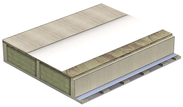 .... JOIST COVERING PANEL (for buildings with mansard floor construction or second floor) ..    PĀRSEGUMA PANELIS  (ēkām ar mansarda stāva izbūvi vai otro stāvu) ....      .... At the bottom: 12.5mm plasterboard layer  Cross-lathing: 45 mm  Wooden frame: 145mm, 195mm or 220 mm thick material with 100mm acoustic insulation  Vibration damping (absorbing) spacer tape  The top layer: 22mm thick OSB or Durelis Floor TG4 particle board with a four-way spill  Flooring  ..  Apakšā: 12.5mm ģipškartona klājums  Šķērslatojums: 45mm  Koka rāmis: 145mm, 195mm vai 220mm biezs materiāls ar 100mm siltinājumu skaņas izolācijai  Amortizējoša starpliku lenta  Virskārta: 22mm bieza OSB vai Durelis Floor TG4 kokskaidu plāksne ar četrpusīgu spundi  Grīdas segums  ....