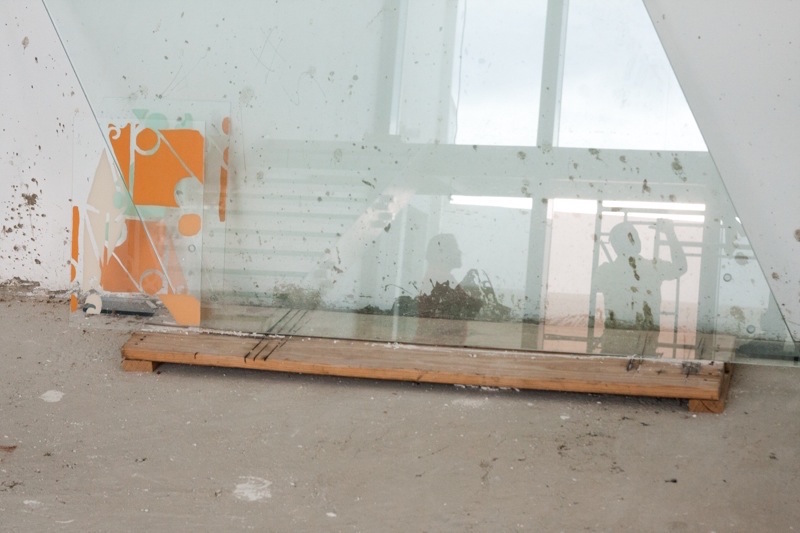 Direct traces of fences from Dominican Republic & Haiti screen printed on glass w/ house paint.