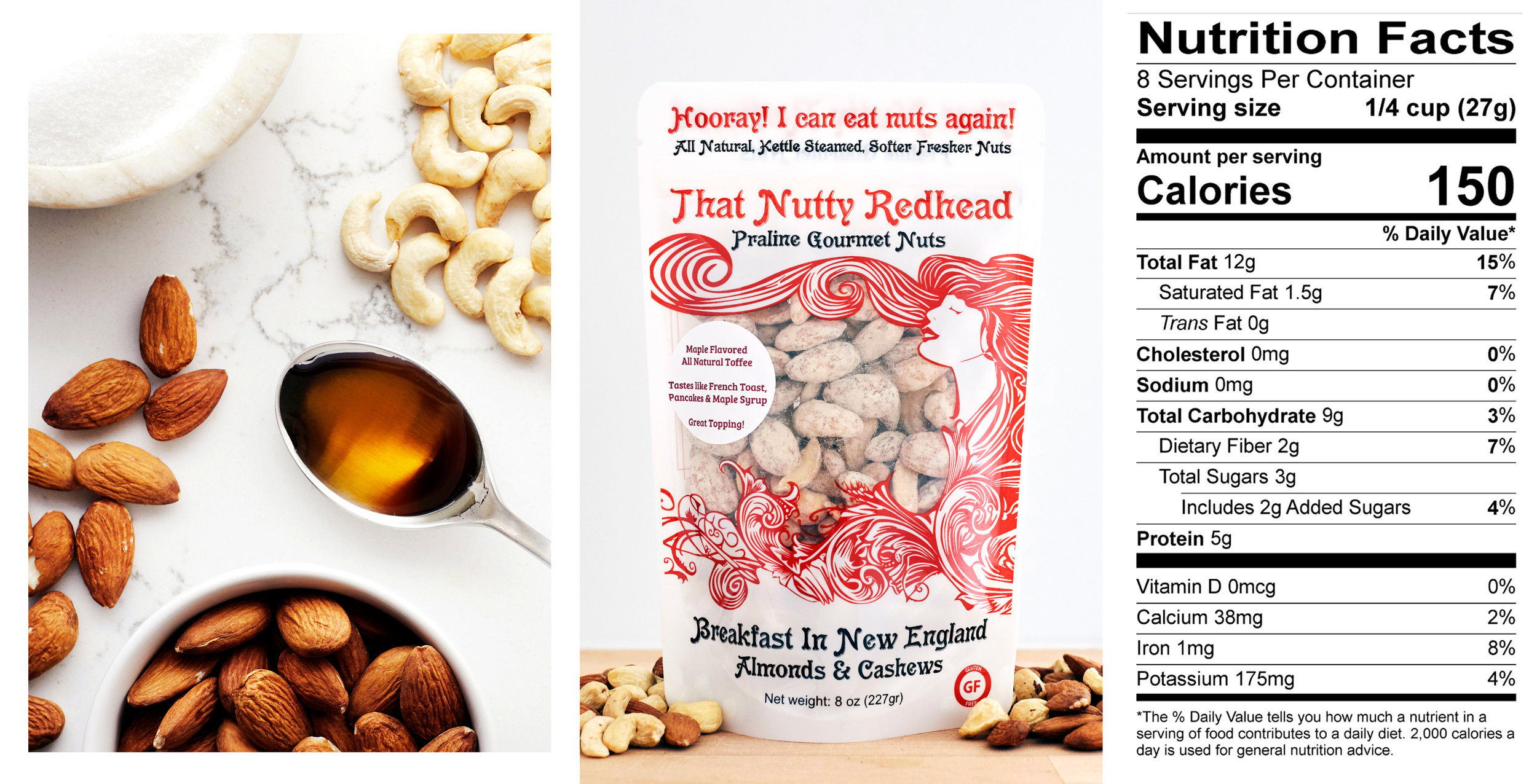Ingredients - Almonds, Cashews, Pure Cane Sugar, Natural Toffee