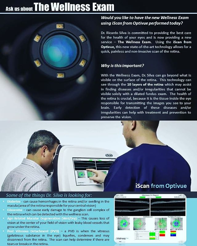Would you like to have the new Wellness Exam using iScan from Optovue performed today?  Contact our office today setup an appointment. #wellnessexam #optometrist #miami #oct #optivue #kendall #eyeexam #drsilva #eyehealth #keratoconus #glaucoma #diabeticretinopathy #maculardegeneration