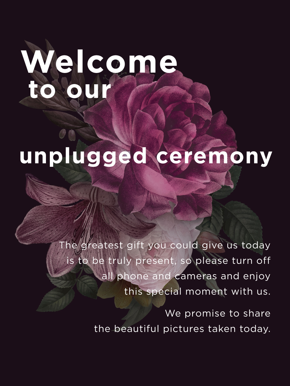 Unplugged Welcome Sign -  Font colours customizable