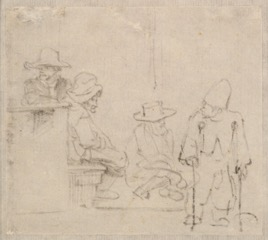 A Group of Figures, One of Them a Beggar on Crutches