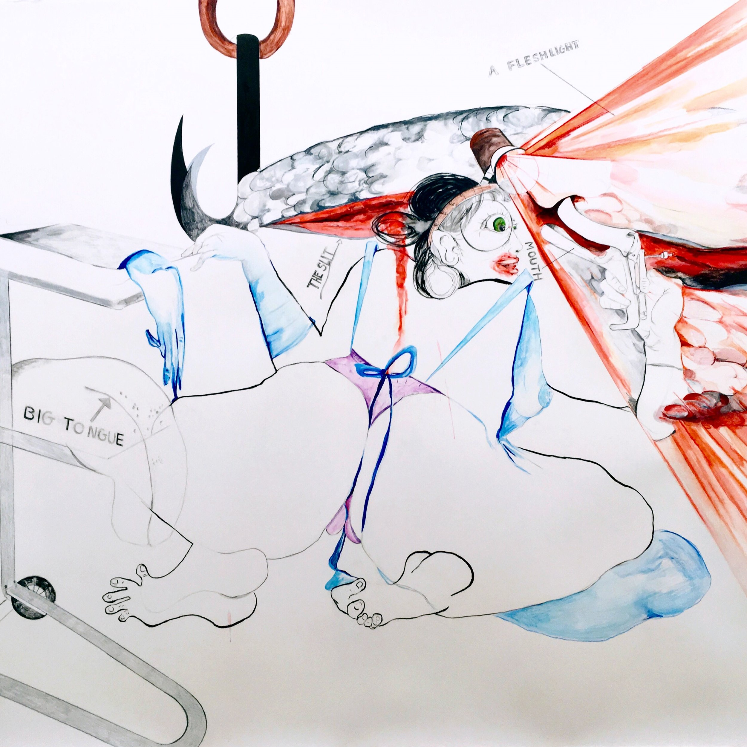 Sarah Mihara Creagen, Kiss the Chef , 51 x 64 inches, watercolour on paper, 2019