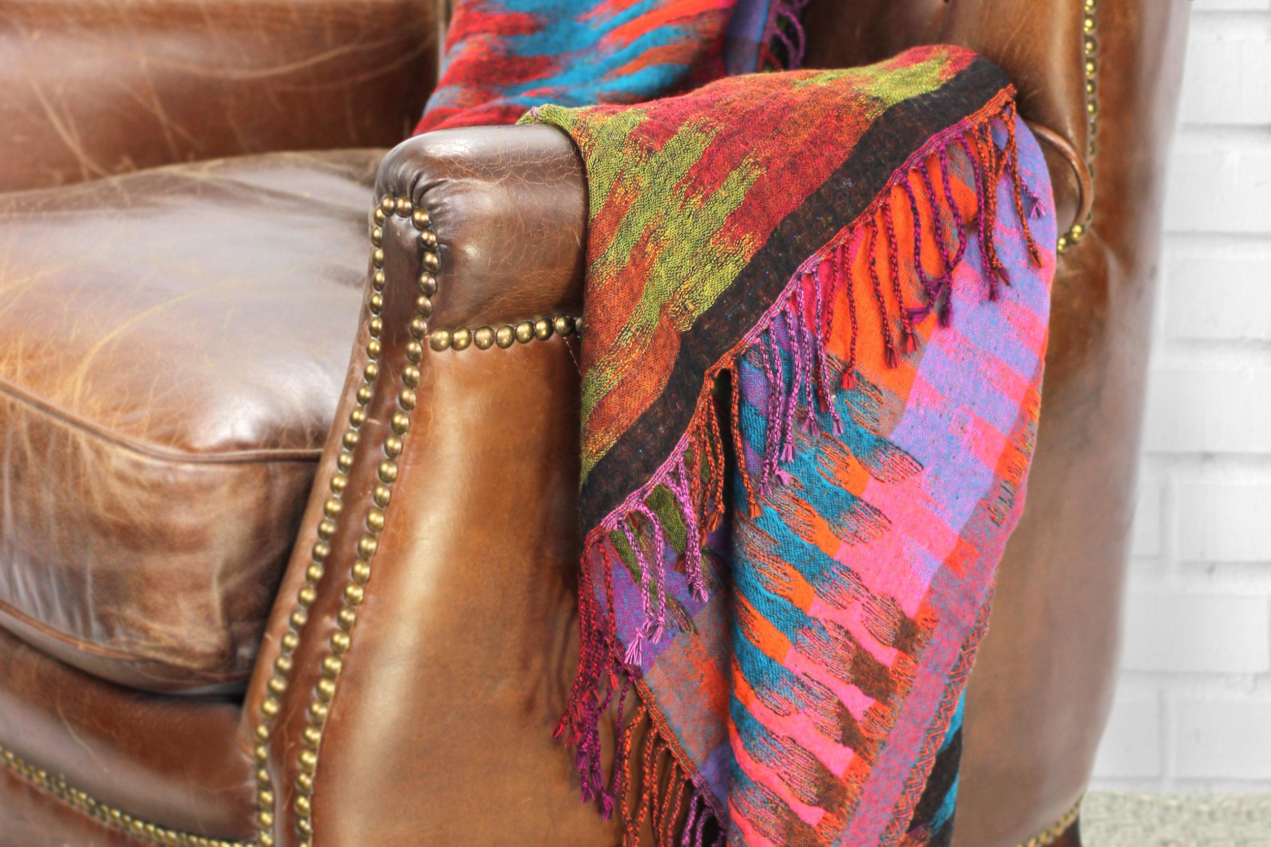 Ikat Merino Wool Throw _ Chair _ Red_Hero.jpg