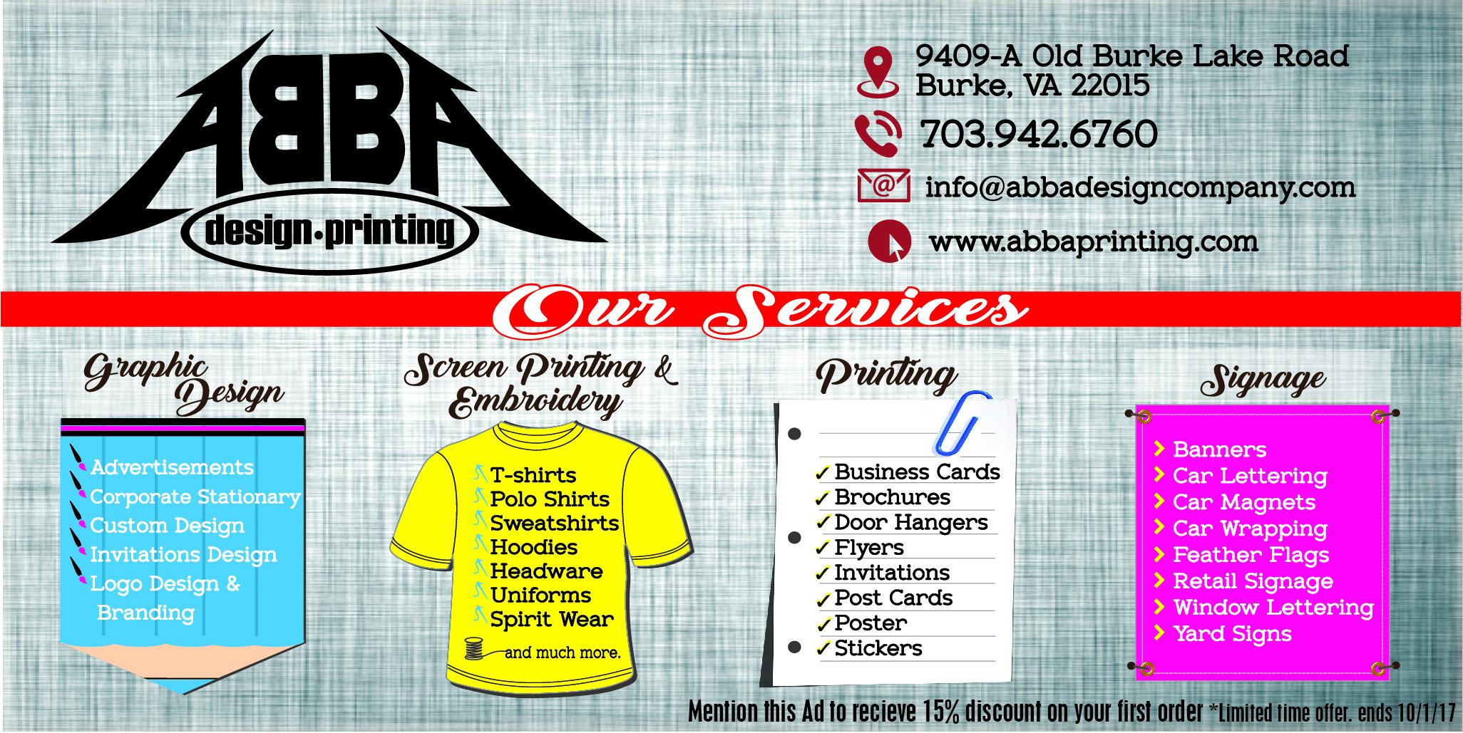 ABBA DESIGN, LLC | (703) 942-6760 | WWW.ABBAPRINTING.COM