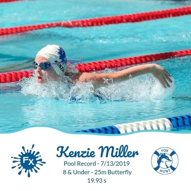 🌟Congrats to Kenzie Miller for swimming another Fox Hunt Splash 💦 pool record in yesterday's NVSL a-meet against the Stratford Sharks 🦈. ⠀ Swimming the 25m fly in 19.93s, she beat the previous long standing record from 1979 of 20.20s ⠀ #swim #swimming #summerswim #record #swimfast #NVSL #swimNVSL #FXpool #foxhuntpool #FXsplash