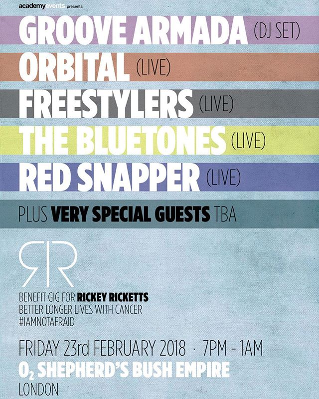 BENEFIT GIG FOR THE BEAUTIFUL RICKEY RICKETTS THIS FRIDAY (23rd) - amazing line-up for an amazing man. If you can go, GO!! https://www1.ticketmaster.co.uk/ricky-ricketts-benefit-gig-groove-armadadj-london-23-02-2018/event/1F00543D8F0A3DDA