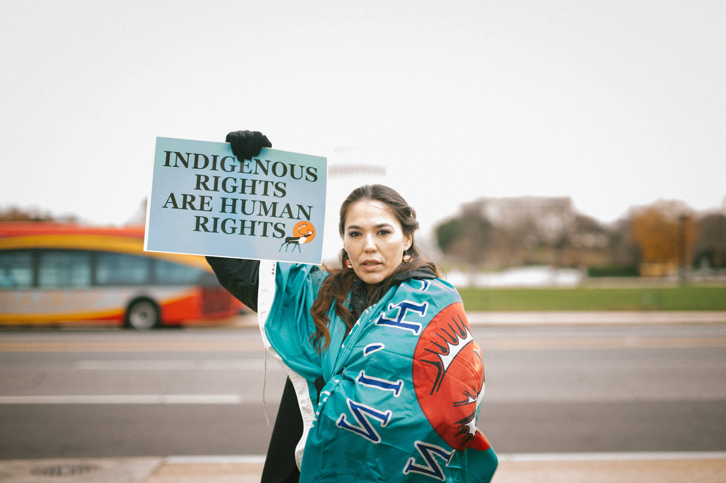 Bernadette Demientieff of the Gwich'in Steering Committee at a Prayer Action in Washington D.C.. Photo courtesy: Dylan McLaughlin, Indigenous Rising Media.