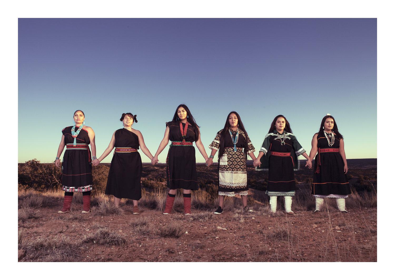 Sisterhood Is Sacred Models: April Chavez (Kewa), Talavai Denipah-Cook (Ohkay Owingeh/Hopi), Jazmin Arquero (Cochiti/Zuni), Dina DeVore (Jemez/Kewa/Laguna), Alexis Wade (Laguna), Marquel Musgrave (Nanbe' Owingeh). Photography by Cara Romero.