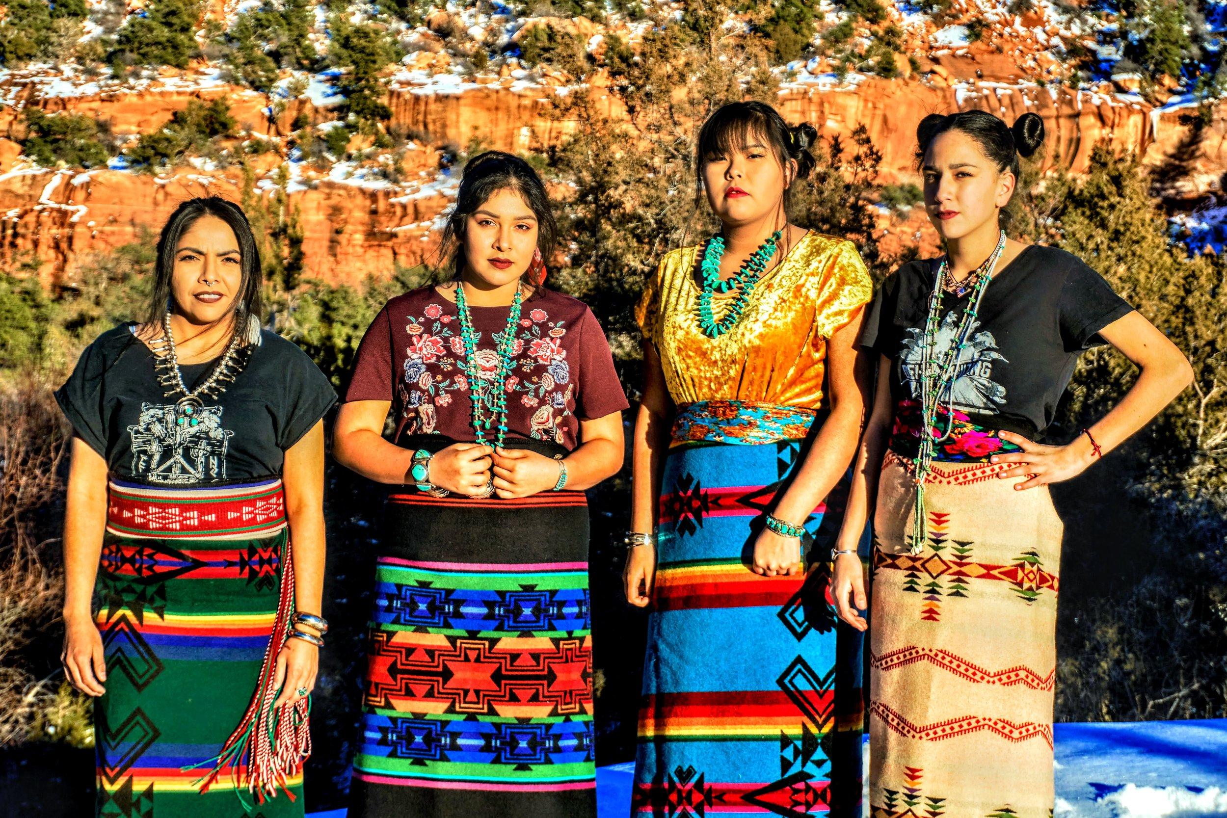 Kinaalda Femmes of the Chuska and Churrizos Mountains: Leo, Lilly, Nizhoni, Jayme Photo credit: Orlando Begaye Make-up: Danielle Joe Styled by: BrownGemmes
