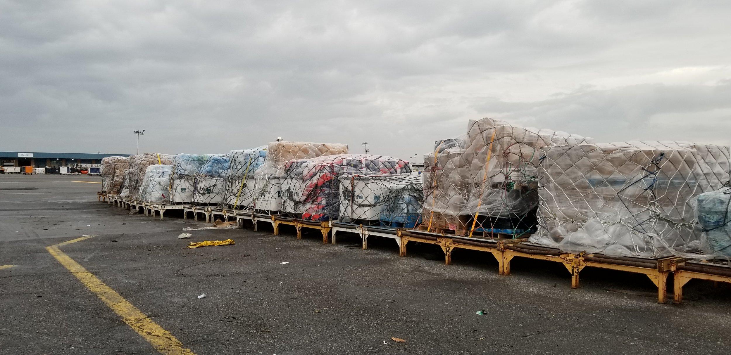 Cargo headed to the Roberto Clemente Coliseum in San Juan