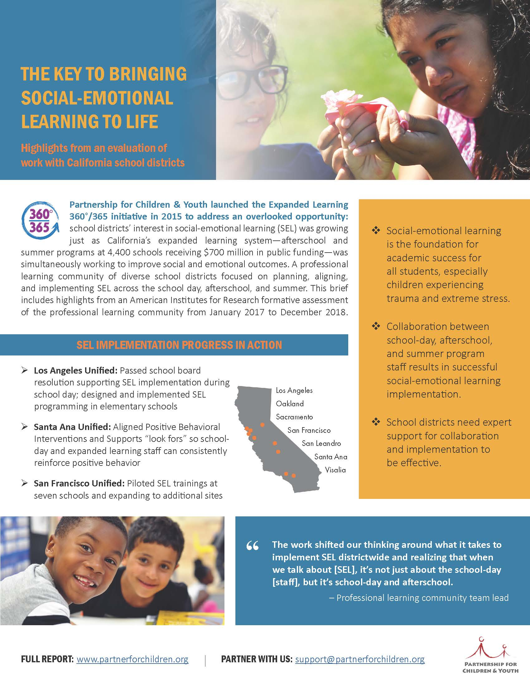 Evaluation Brief: The Key to Bringing Social-Emotional Learning to Life - Read the two-page brief.