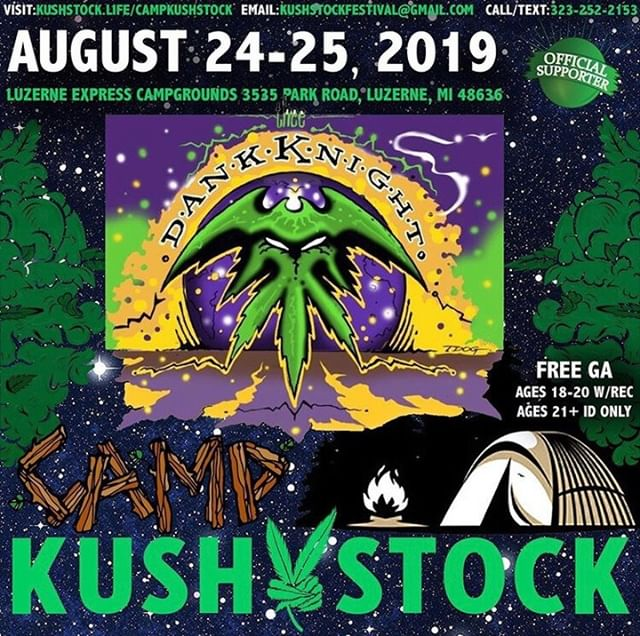 Who's ready? @thee_dank_knight will be at⁠ .⁠ @CampKushstock⁠ Sat/Sun, August 24/25, 2019⁠ at the Luzerne Express Campgrounds⁠ 21+ w/ Valid Photo ID ONLY⁠ 18-20 w/ Valid Photo ID & Valid Medical Recommendation⁠ .⁠ VIP Tickets FOR SALE ✨⁠ FREE GENERAL ADMISSION 🎫⁠ Tickets available NOW @eventhi.io⁠ .⁠ Link in the bio☝️