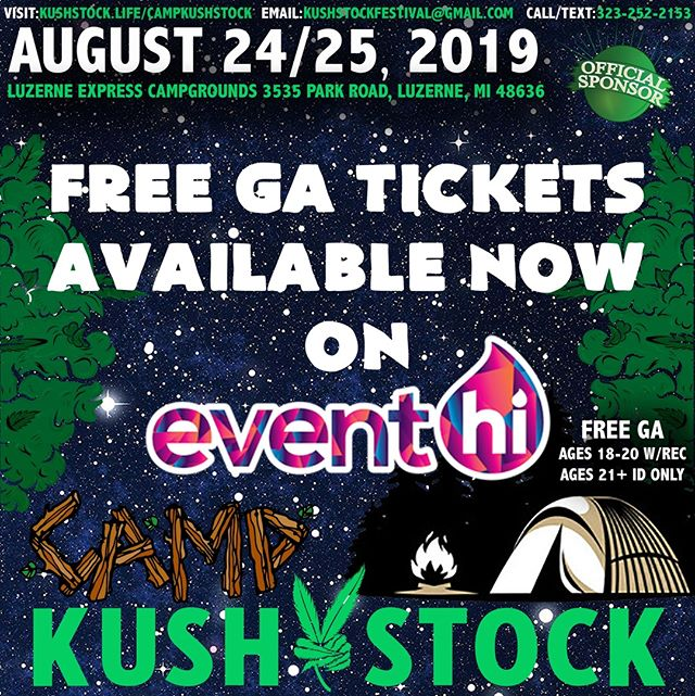 FREE GENERAL ADMISSION 🎫⁠ VIP Tickets FOR SALE ✨⁠ .⁠ @CampKushstock⁠ Sat/Sun, August 24/25, 2019⁠ at the Luzerne Express Campgrounds⁠ .⁠ 21+ w/ Valid Photo ID ONLY⁠ 18-20 w/ Valid Photo ID & Valid Medical Recommendation⁠ .⁠ Tickets available NOW @eventhi.io⁠ .⁠ Link in the bio☝️