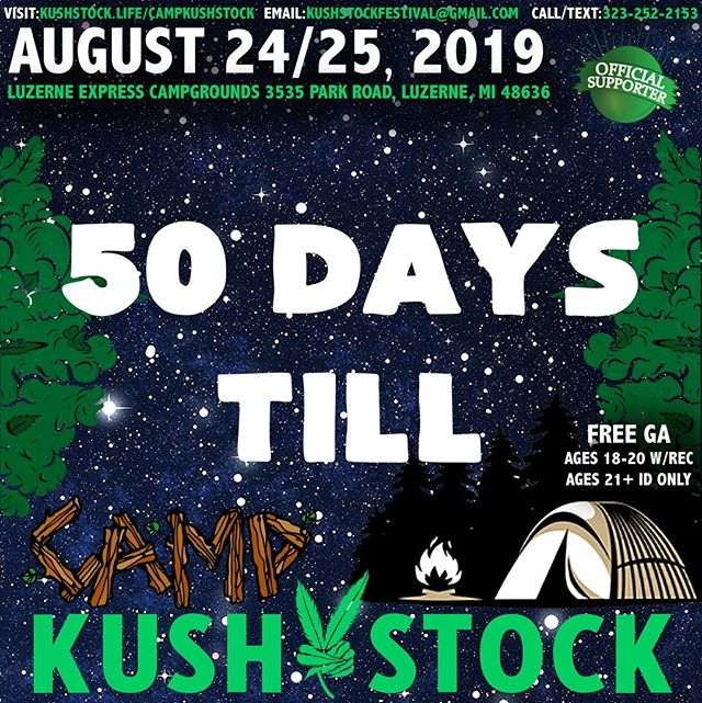 50 Days Til ⁠ .⁠ @CampKushstock⁠ Sat/Sun, August 24/25, 2019⁠ at the Luzerne Express Campgrounds⁠ 21+ w/ Valid Photo ID ONLY⁠ 18-20 w/ Valid Photo ID & Valid Medical Recommendation⁠ .⁠ VIP Tickets FOR SALE ✨⁠ FREE GENERAL ADMISSION 🎫⁠ Tickets available NOW @eventhi.io⁠ .⁠ Link in the bio☝️