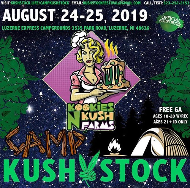 Who's ready? @kookies_n_kush_farms will be at⁠ .⁠ @CampKushstock⁠ Sat/Sun, August 24/25, 2019⁠ at the Luzerne Express Campgrounds⁠ 21+ w/ Valid Photo ID ONLY⁠ 18-20 w/ Valid Photo ID & Valid Medical Recommendation⁠ .⁠ VIP Tickets FOR SALE ✨⁠ FREE GENERAL ADMISSION 🎫⁠ Tickets available NOW @eventhi.io⁠ .⁠ Link in the bio☝️