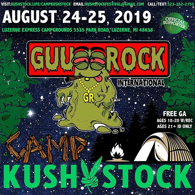 Who's ready? @guurockflo will be at⁠ .⁠ @CampKushstock⁠ Sat/Sun, August 24/25, 2019⁠ at the Luzerne Express Campgrounds⁠ 21+ w/ Valid Photo ID ONLY⁠ 18-20 w/ Valid Photo ID & Valid Medical Recommendation⁠
