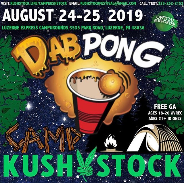 Who's ready? @dabpong will be at⁠ .⁠ @CampKushstock⁠ Sat/Sun, August 24/25, 2019⁠ at the Luzerne Express Campgrounds⁠ 21+ w/ Valid Photo ID ONLY⁠ 18-20 w/ Valid Photo ID & Valid Medical Recommendation⁠ .⁠ VIP Tickets FOR SALE ✨⁠ FREE GENERAL ADMISSION 🎫⁠ Tickets available NOW @eventhi.io⁠ .⁠ Link in the bio☝️