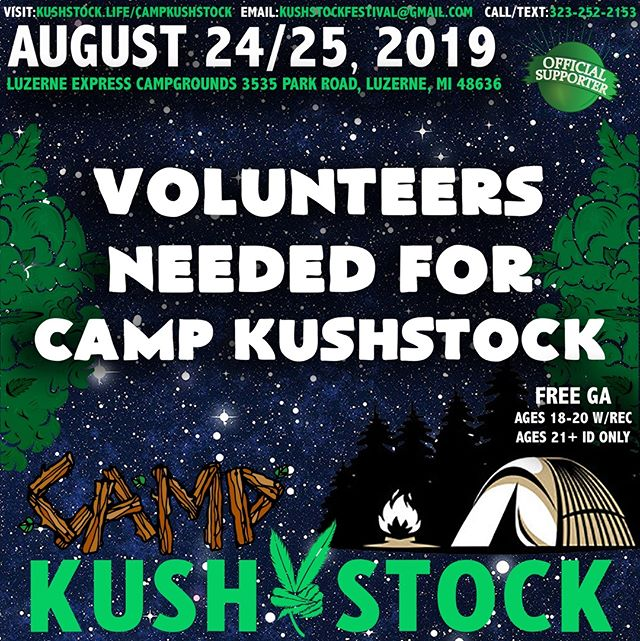 📣 Volunteers needed for⁠ @CampKushstock ⛺⁠ Sat/Sun, August 24/25, 2019⁠ at the Luzerne Express Campgrounds⁠ .⁠ FREE GENERAL ADMISSION 🎫⁠ 21+ w/ Valid Photo ID ONLY⁠ 18-20 w/ Valid Photo ID & Valid Medical Recommendation⁠ .⁠ Apply at www.Kushstock.Life/volunteercampkushstock