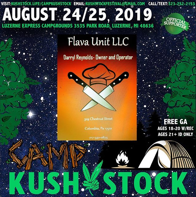 Who's ready? @flavaunitcatering2018 will be at⁠ .⁠ @CampKushstock⁠ Sat/Sun, August 24/25, 2019⁠ at the Luzerne Express Campgrounds⁠ 21+ w/ Valid Photo ID ONLY⁠ 18-20 w/ Valid Photo ID & Valid Medical Recommendation⁠ .⁠ VIP Tickets FOR SALE ✨⁠ FREE GENERAL ADMISSION 🎫⁠ Tickets available NOW @eventhi.io⁠ .⁠ Link in the bio☝️
