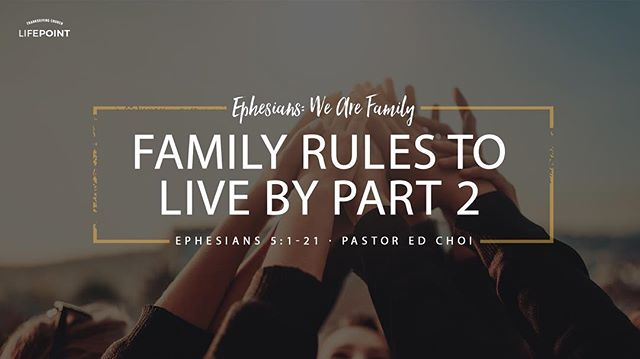 """We as Christians understand that to be a part of God's family, it is by grace alone through the saving life, death and resurrection of Jesus Christ. And as every household has a set of rules they are expected to live by, it is the same in the household of God. Here we continue on in part two of """"Family Rules to Live By"""". Click on the link in our bio to hear this last Sunday's sermon available now on iTunes 🎧"""