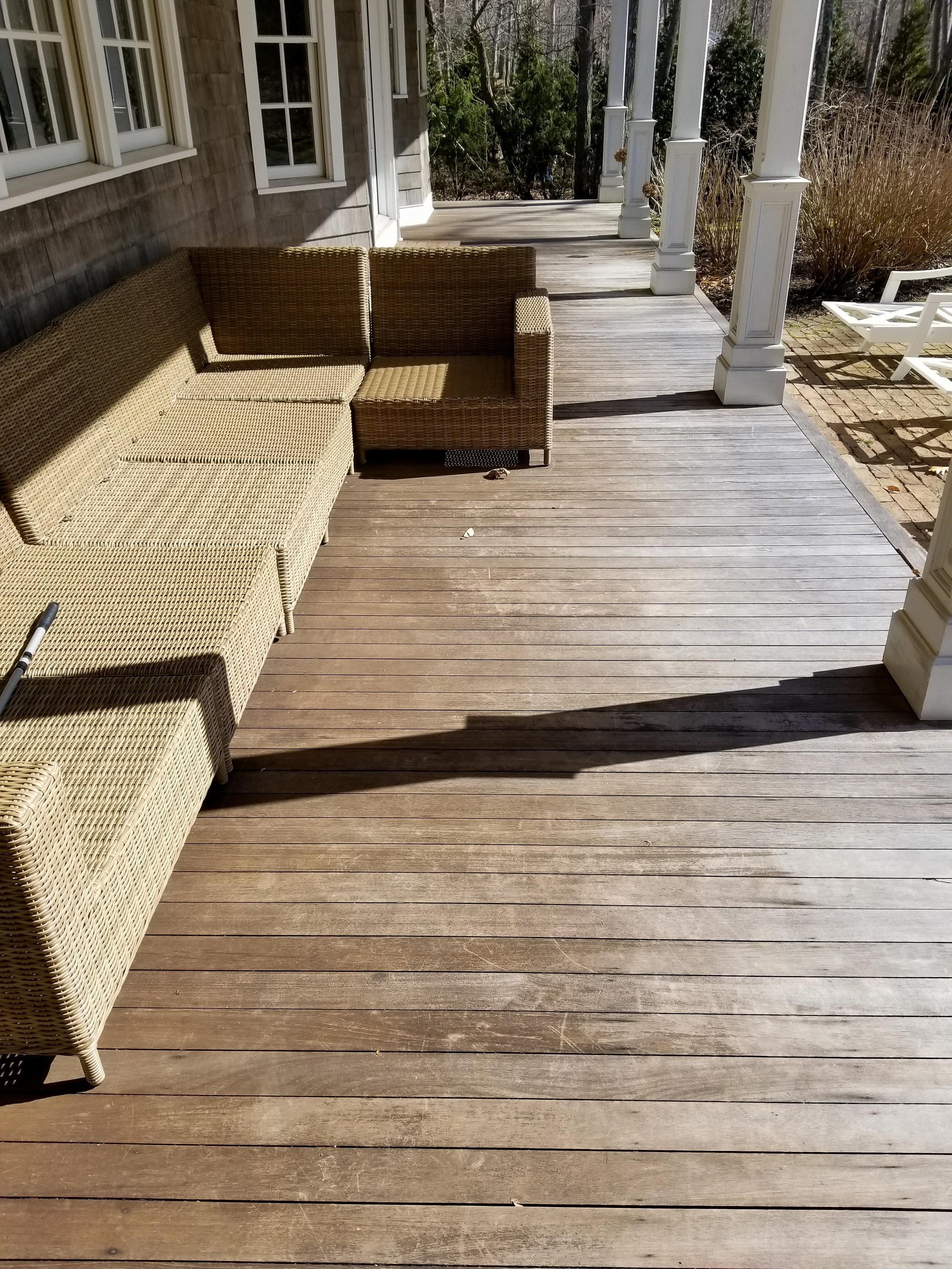 Mahogany Deck Resurface & PVC Column Install Before