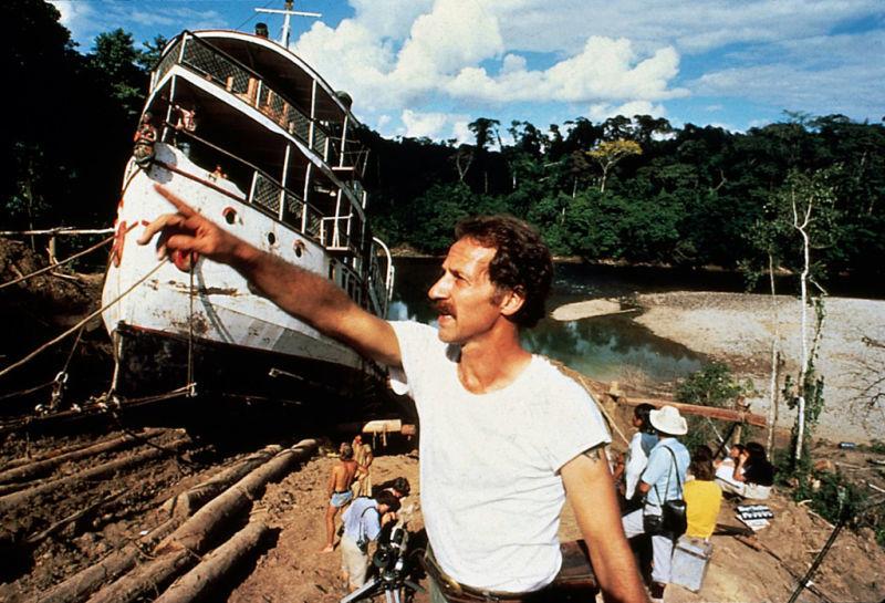 Director Werner Herzog during production of FITZCARRALDO (1982).