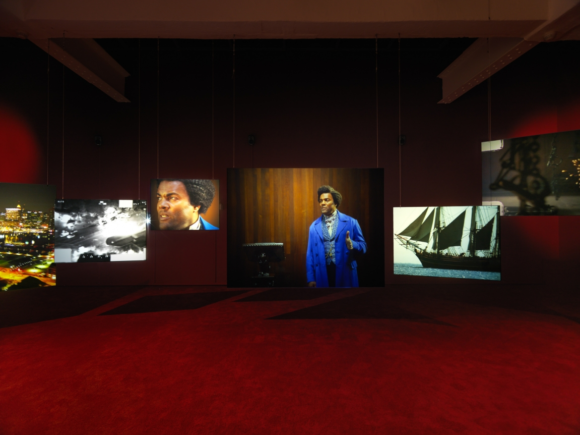 Isaac Julien,  Lessons of the Hour–Frederick Douglass . Installation view, 2019. Metro Pictures, New York.