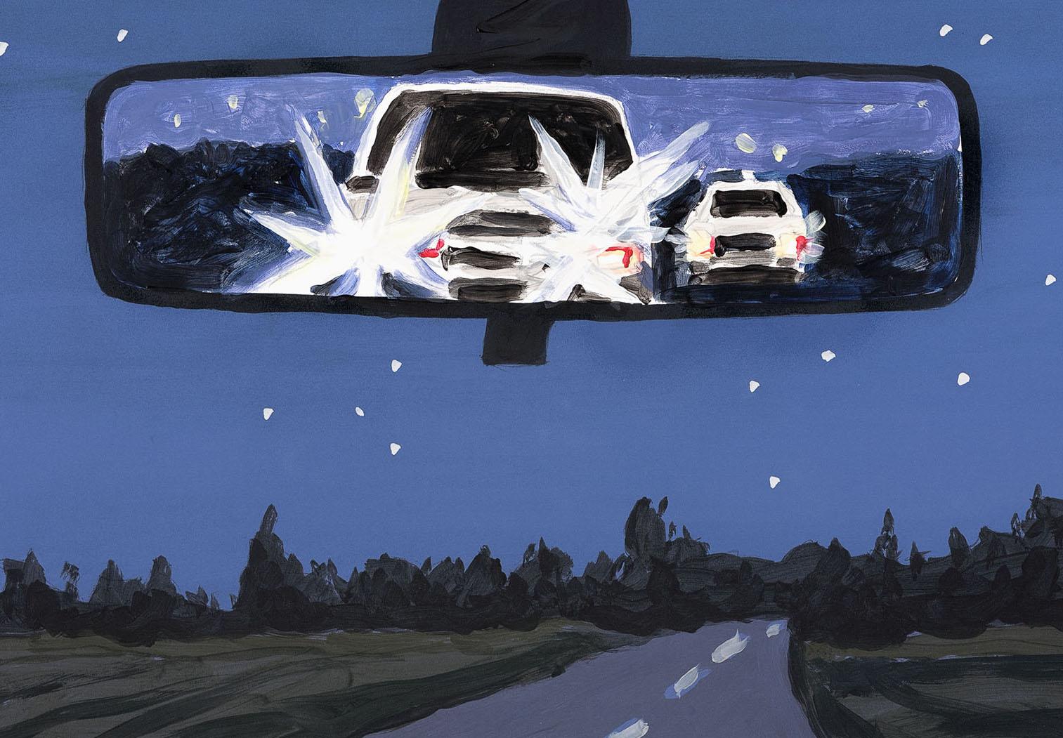 "Richard Bosman,  Rear View Night B    (detail), 2017, monoprint/uniquely hand painted, 21.75"" x 29.75"", $3000.(rare)"
