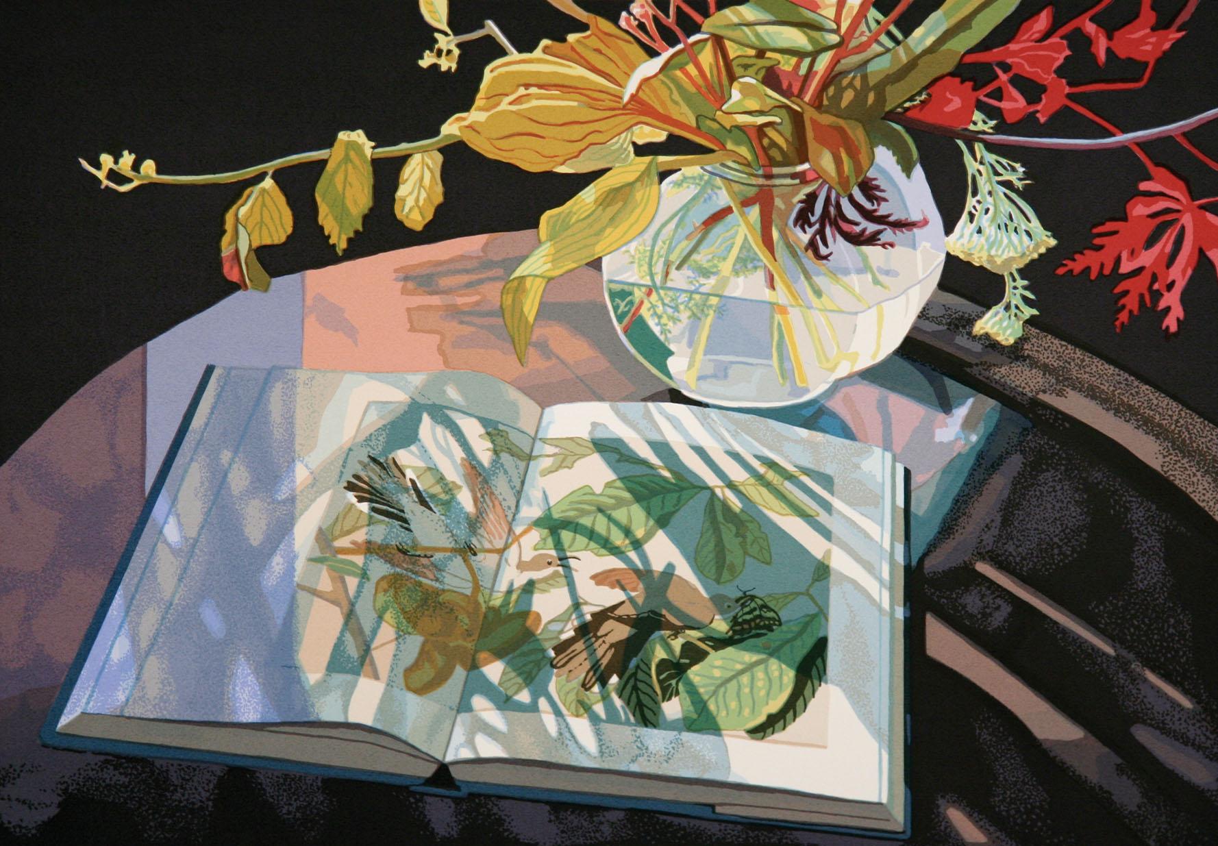 """Jane E. Goldman,  Audubon November  (detail)  ,  2008, 19-c screenprint, 21.75"""" x 29.75"""", ed: 65, $1000."""