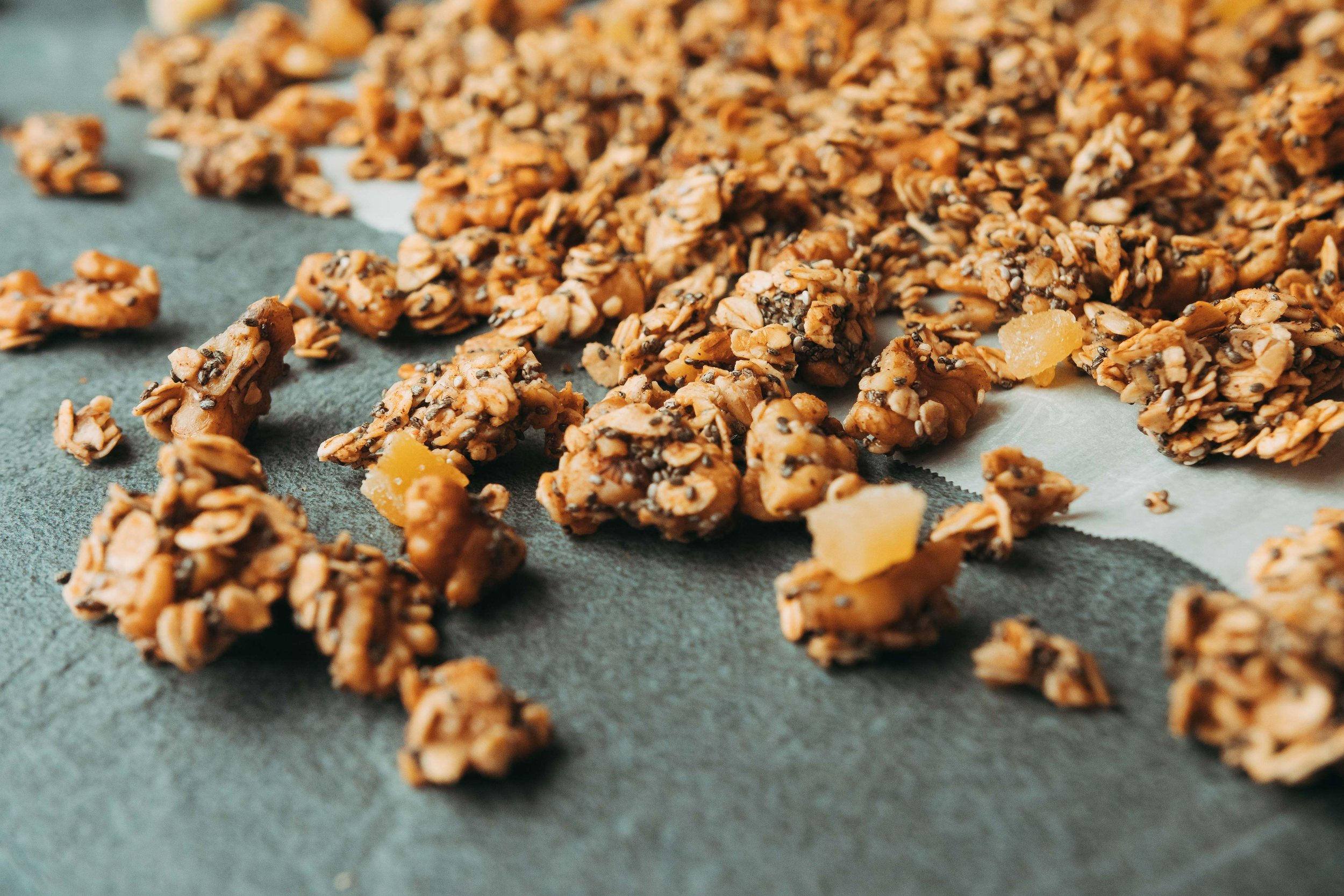 Close-up of ginger chia walnut granola clusters