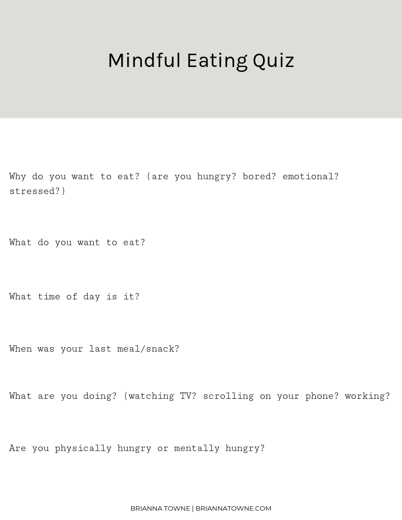 Mindful Eating Quiz