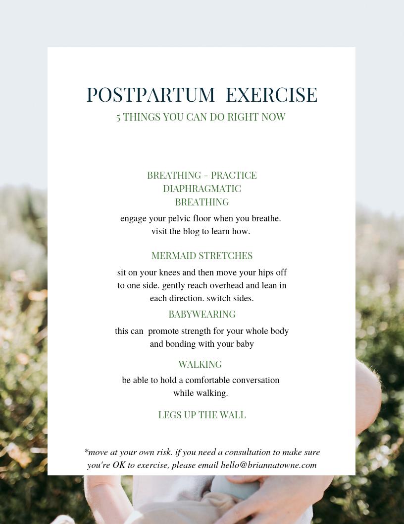 0-6 Weeks Postpartum Movement