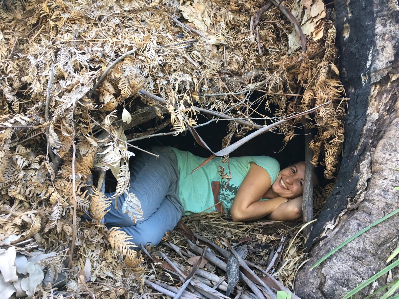 Finding my own wild belonging by sleeping out on the land in natural shelters at  Nature Philosophy