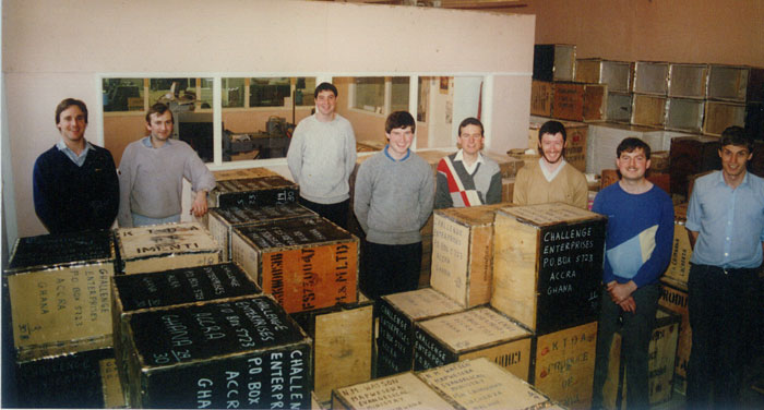 Tea Chests packed with literature ready for shipping 1989