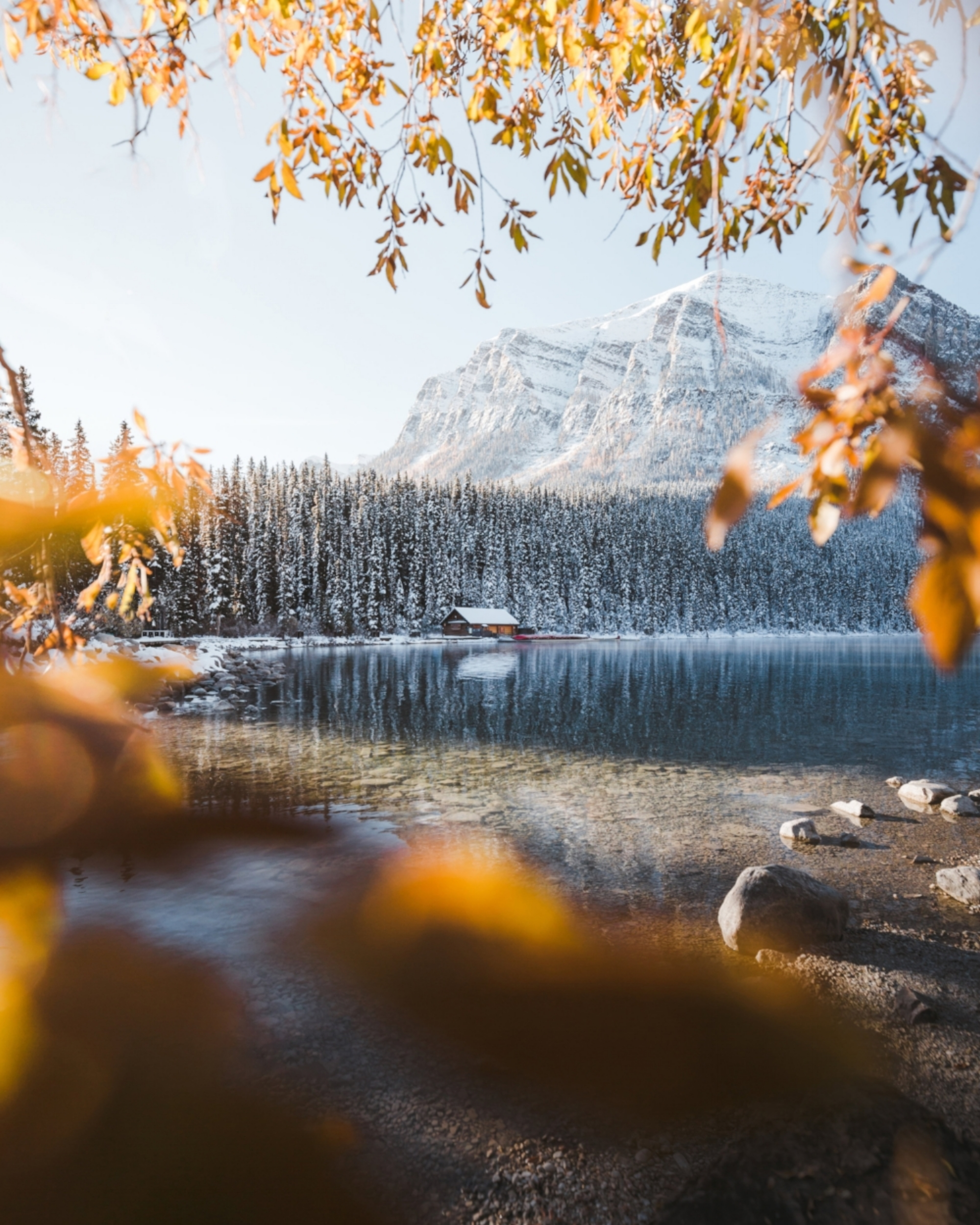 Lake Louise on a cold fall morning
