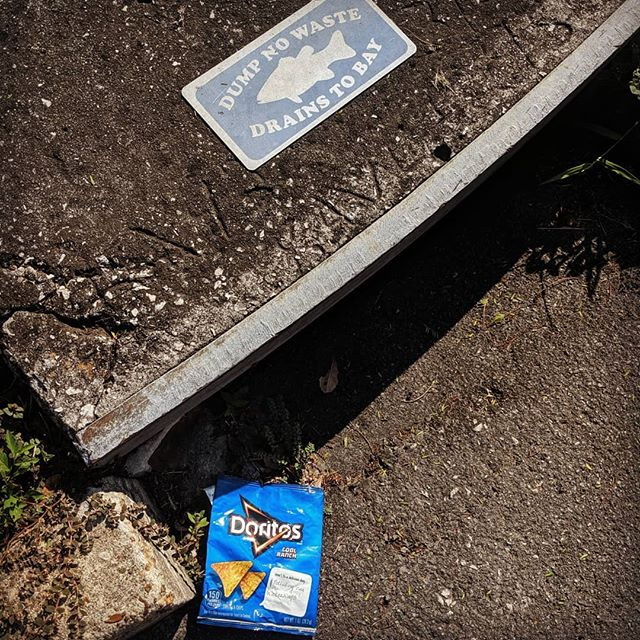 Here's to a delicious day polluting our waterways. Hey @doritos, how about spending a portion of your multi-million dollar ad budge on innovating your packaging?  #trashtag #drainstobay #oceanplastic #oceaneconomy #plasticearth #plasticocean #plasticpollution #innovate #thenextgeneration