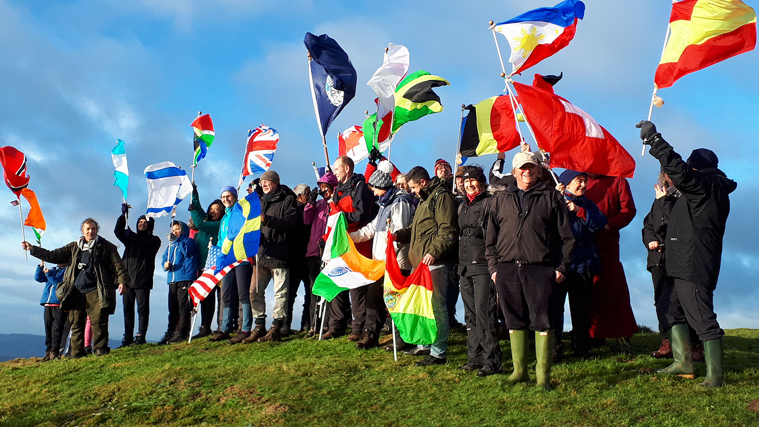 Peace makers and people of Lockerbie on top of Burnswark (Photos: Chris Lake)
