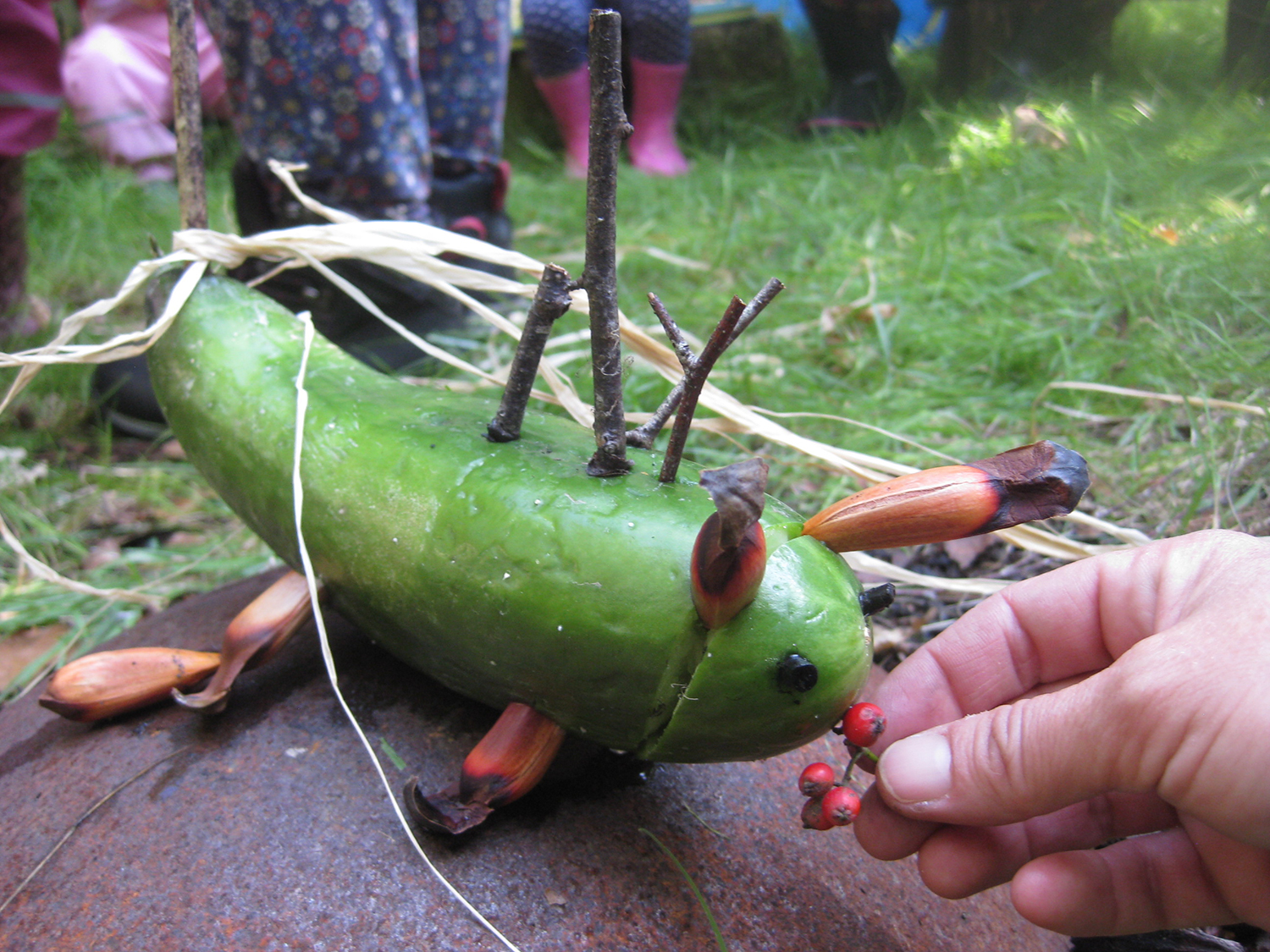 Animal Making   This is a courgette with Monkey-puzzle seed legs and ears. Do you think it likes Hawthorn berries?