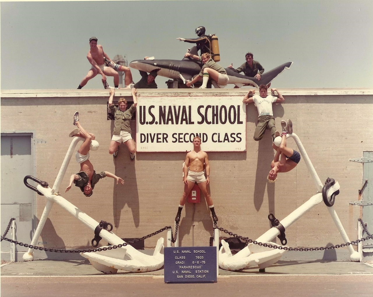 Navy Scuba School 1975 with Pararescue Teammates. Robert in the middle.