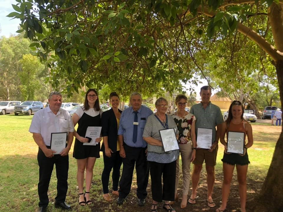 Above: The Coolamon Shire Council 2019 Australia Day Award Winners, Pictured with Kath Koschel, Mayor John Seymour OAM and Steph Cook MP  L-R – Chris Berry, Madison Marshall, Kath Koschel, John Seymour, Val Brill, Steph Cooke MP, Paul Lucas and Kailin Logan