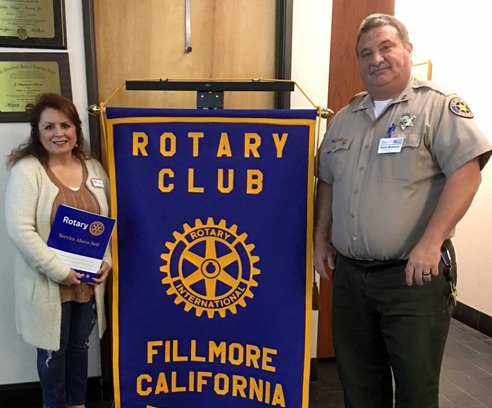 Rotary Club welcomed their newest member Theresa Robledo with open arms as she smiles for a photo with Rotary Club President Dave Wareham. Photo Courtesy Martha Richardson.
