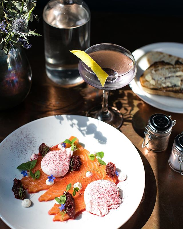 Shining the light on brunch.⠀ Sat & Sun from 10 am  Citrus Cured Salmon- Beetroot relish, goat cheese, poached eggs, &⠀ micro herbs served with toast.