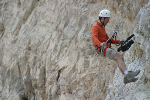 Hanging off a cliff in Israel...