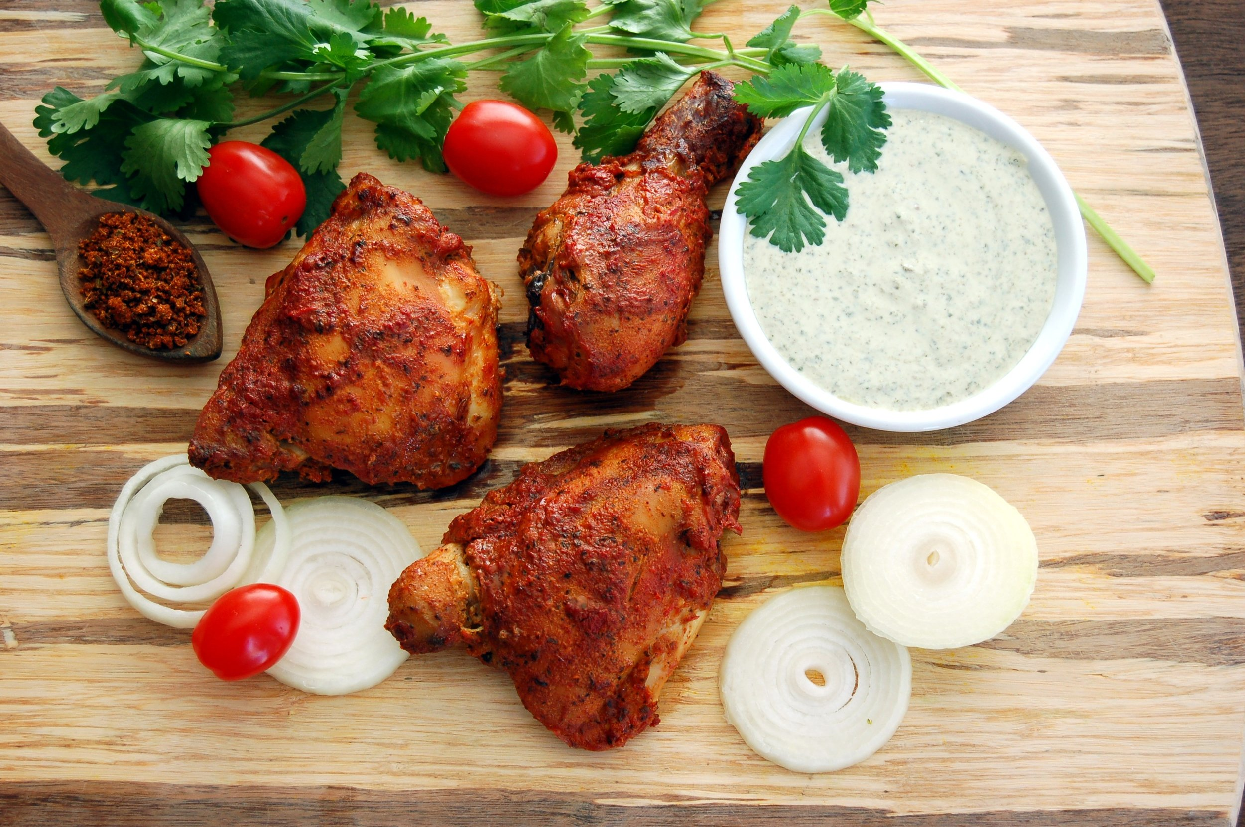 SUCCULENT TANDOORI CHICKEN - {Made with Arvinda's Tandoori Masala}Use Arvinda's Tandoori Masala to make the ever-popular Tandoori Chicken. Bake in the oven or cook on the barbecue grill (even better!) and serve with naan and raita for a delicious, healthy meal. Vegetarian Alternative: Try tandoori paneer ... it's a great match!